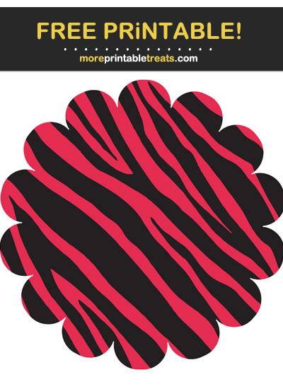 Free Printable Pink Zebra Print Scalloped Circle Cut Out