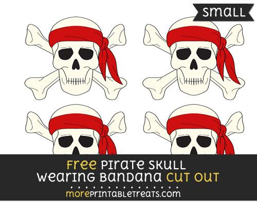 Free Pirate Skull Wearing Bandana Cut Out - Small Size Printable