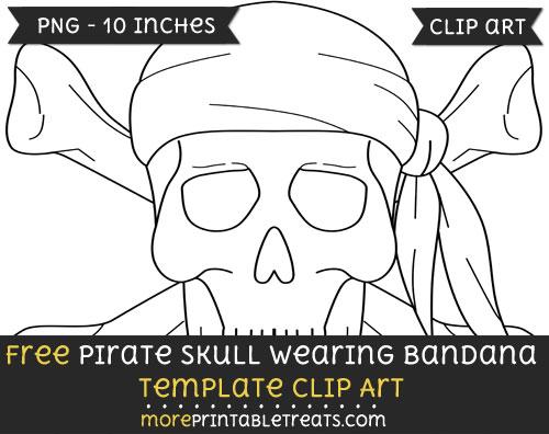 Free Pirate Skull Wearing Bandana Template - Clipart