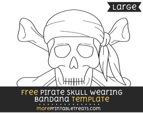 Free Pirate Skull Wearing Bandana Template - Large