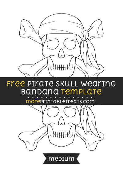 Free Pirate Skull Wearing Bandana Template - Medium