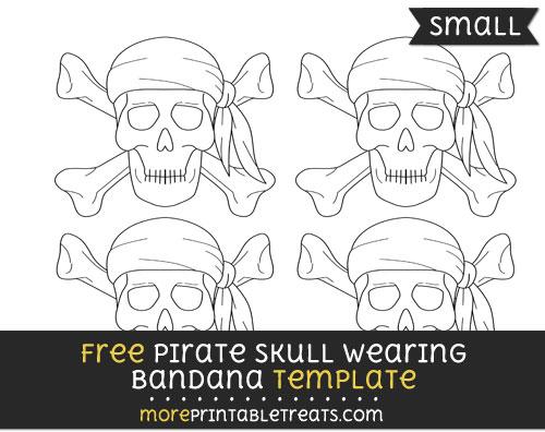 Free Pirate Skull Wearing Bandana Template - Small