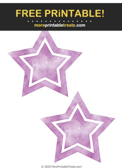 Free Printable Plum Purple Watercolor Double Star Cut Out