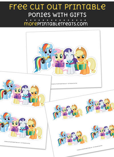 Free Ponies Holding Gifts Cut Out Printable with Dashed Lines - My Little Pony