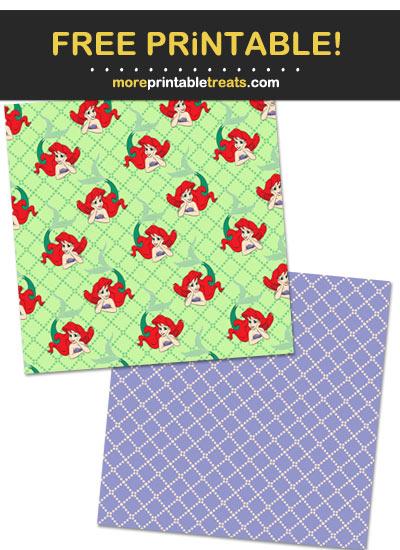 Free Printable Princess Ariel Mermaid Scrapbook Papers