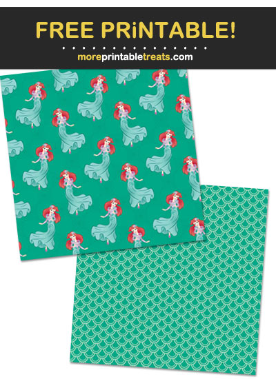 Free Printable Princess Ariel Mermaid Wrapping Paper