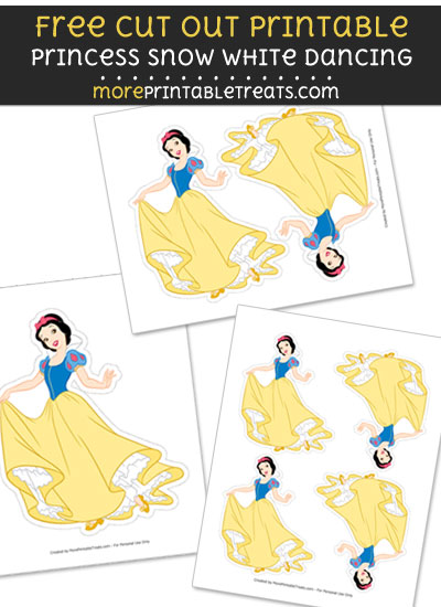 Free Princess Snow White Dancing Cut Out Printable with Dashed Lines
