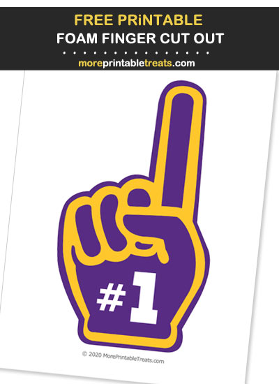 Free Printable Purple and Gold Foam Finger Cut Out for Football Parties - Go Vikings!