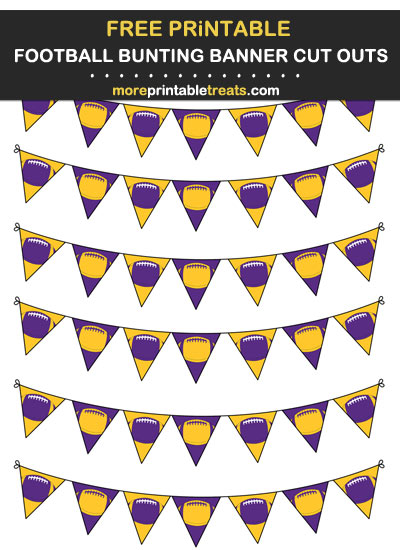 Free Printable Purple and Gold Football Bunting Banners Cut Outs - Go Vikings!