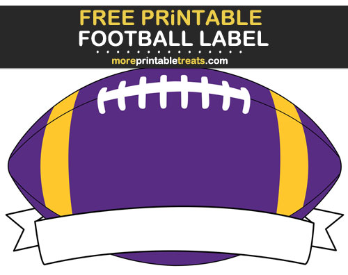 Free Printable Purple and Gold Football Ribbon Label for Signs, Food Labels, Gift Tags - Go Vikings!