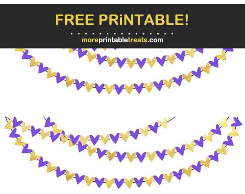 Free Printable Purple and Gold Hearts Bunting Banner Cut Outs