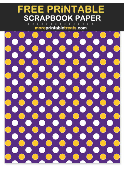 Free Printable Purple and Gold Polka Dot Scrapbook Paper - For Vikings Football Fan Crafting!