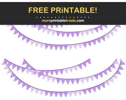Free Printable Purple Pennant Bunting Banner Cut Outs