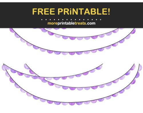 Free Printable Purple Watercolor Scalloped Bunting Banner Cut Outs