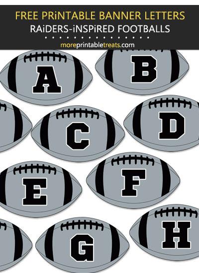 Free Printable Raiders-Inspired Football Bunting Banner