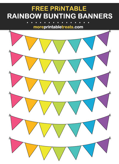 Free Printable Rainbow Bunting Banners Cut Outs for Scrapbooks, Bulletin Boards, Card-Making, Etc.