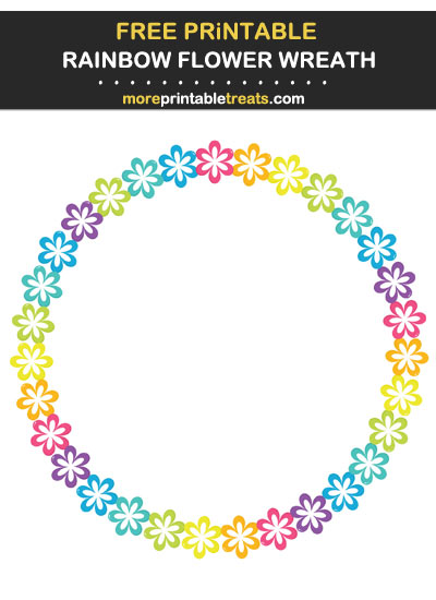 Free Printable Rainbow Flower Wreath for Wall Decorating and Birthday Party Table Signs
