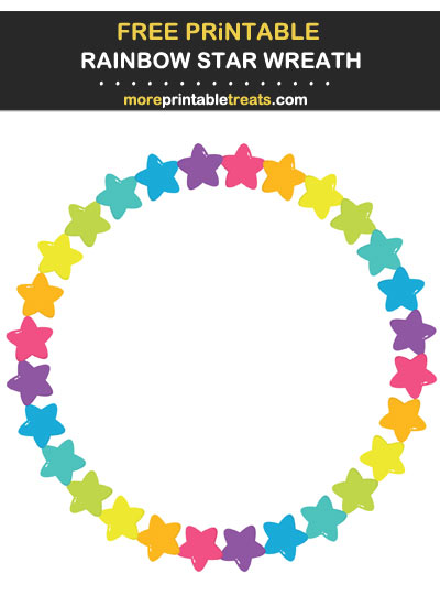 Free Printable Rainbow Star Circle Frame for Wall Decorating and Birthday Party Table Signs