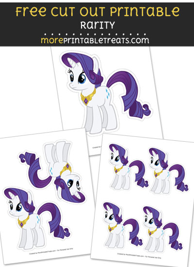 Free Rarity Cut Out Printable with Dashed Lines - My Little Pony