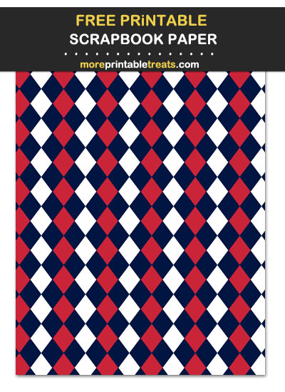Free Printable Red Blue and White Argyle Scrapbook Paper