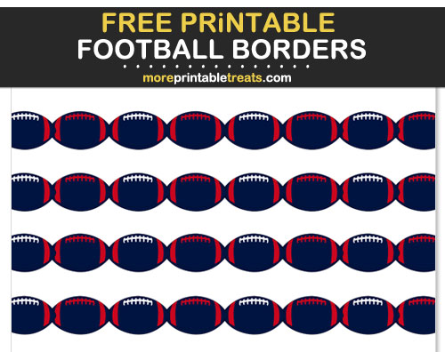 Free Printable Red, Blue, and White Football Borders for Scrapbooks, Bulletin Boards, and Sign Decorating - Go Texans!