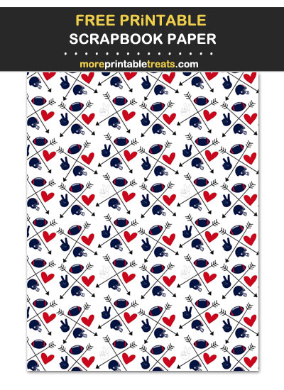 Free Printable Red Blue White Peace Love Football Arrows Scrapbook Paper
