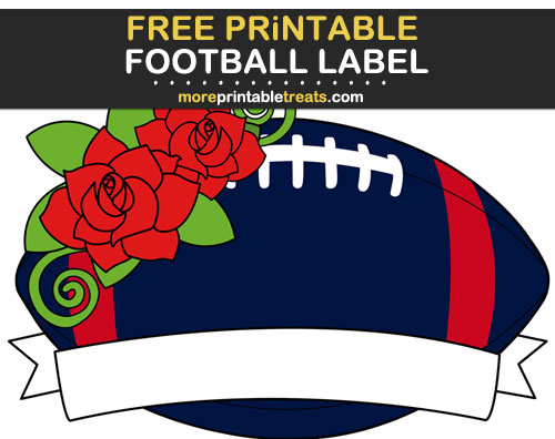 Free Printable Red, Blue, and White Football Ribbon Label for Signs, Food Labels, Gift Tags - Go Texans!