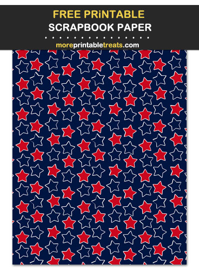Free Printable Red Blue and White Scattered Stars Scrapbook Paper