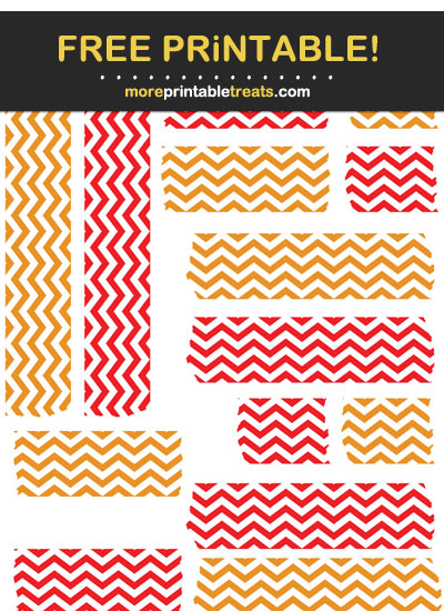 Free Printable Red and Carrot Orange Chevron Washi Tape