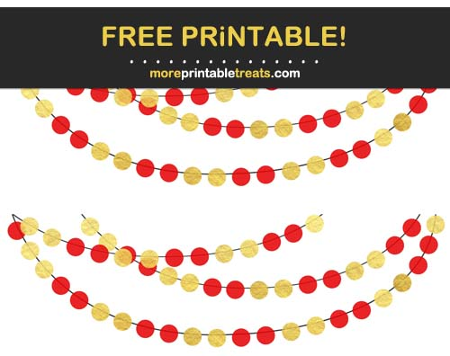 Free Printable Red and Gold Circle Bunting Banner Cut Outs