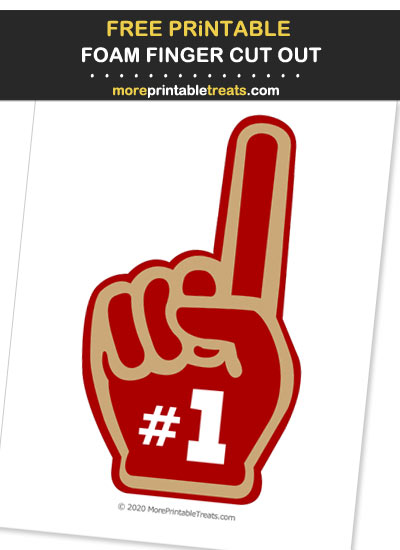 Free Printable Red and Gold Foam Finger Cut Out for Football Parties - Go Niners!