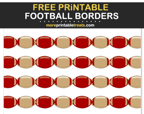 Free Printable Red and Gold Football Borders for Scrapbooks, Bulletin Boards, and Sign Decorating - Go Niners!