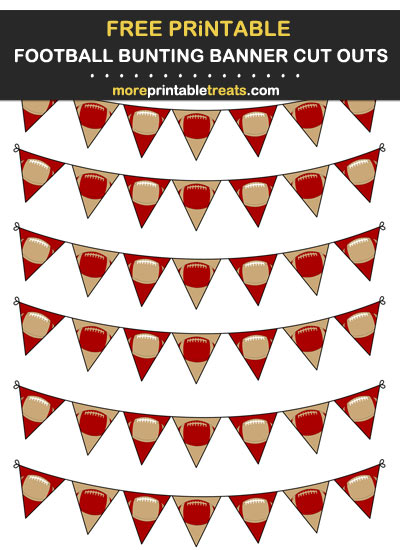 Free Printable Red and Gold Football Bunting Banners Cut Outs - Go Niners!