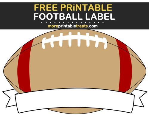 Free Printable Red and Gold Football Ribbon Label for Signs, Food Labels, Gift Tags - Go Niners!