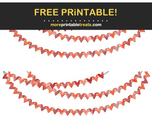 Free Printable Red Watercolor Hearts Bunting Banner Cut Outs