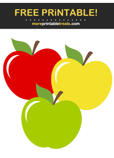 Free Printable Red, Yellow, and Green Apples Cut Out