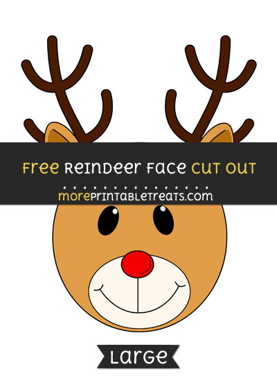 Free Reindeer Face Cut Out - Large size printable