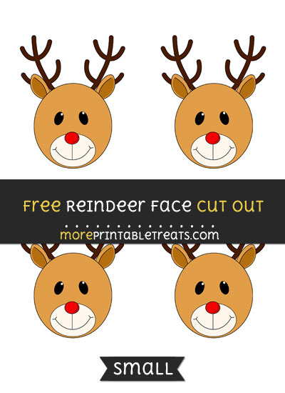 Free Reindeer Face Cut Out - Small Size Printable