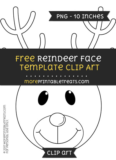 Free Reindeer Face Template - Clipart