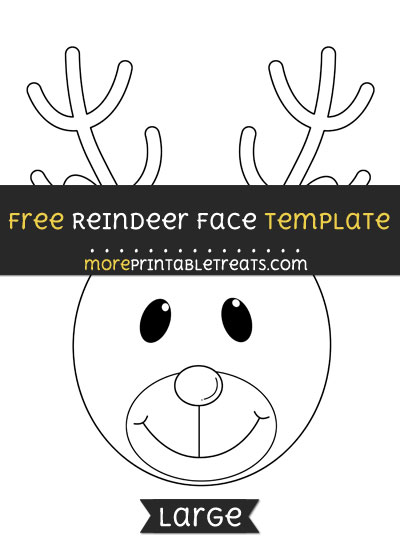 Free Reindeer Face Template - Large