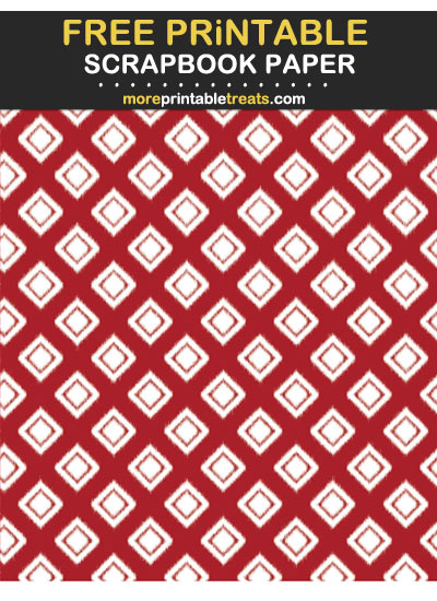 Free Printable Rich Red Ikat Diamond Scrapbook Paper