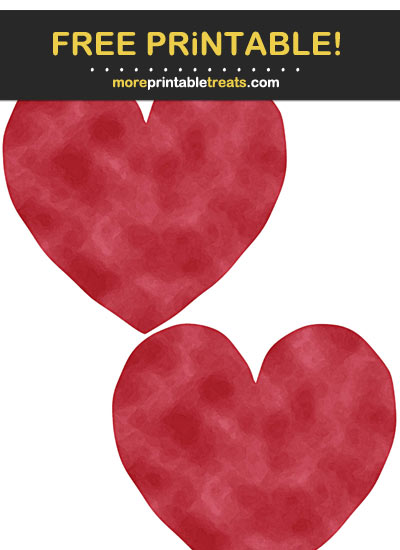 Free Printable Rich Red Saturated Watercolor Hearts