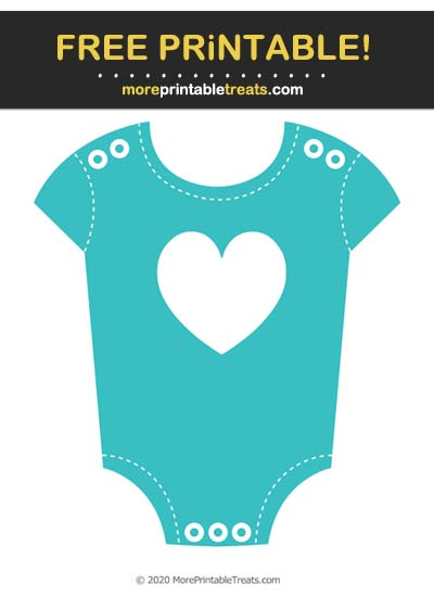 Free Printable Robin Egg Blue Heart Baby Onesie Cut Out