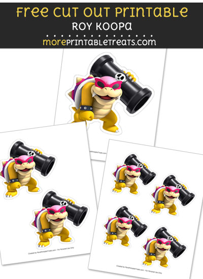 Free Roy Koopa Cut Out Printable with Dashed Lines - Mario