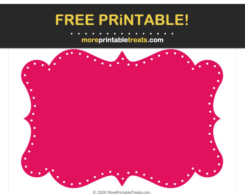 Free Printable Ruby Pink Dotted Curvy Label Cut Out