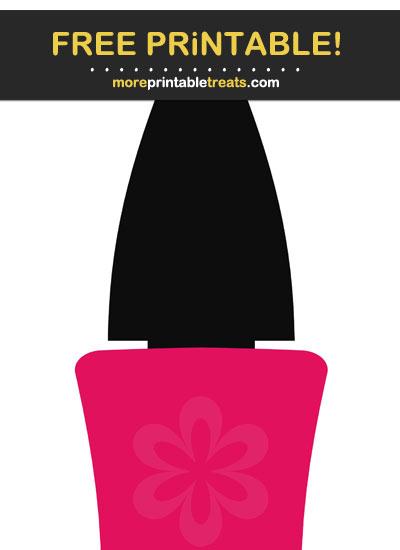 Free Printable Ruby Pink Nail Polish Bottle Cut Out