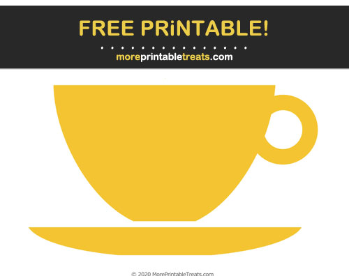 Free Printable Saffron Yellow Teacup Cut Out