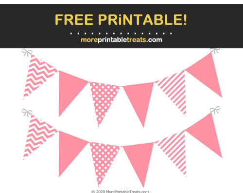Free Printable Salmon Pink Pennant Flags Banner Cut Outs