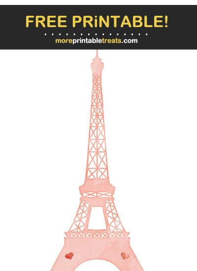 Free Printable Salmon Pink Watercolor Eiffel Tower
