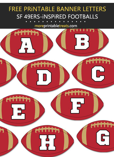 Free Printable San Francisco 49ers-Inspired Football Alphabet Banner Letters